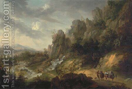 An extensive, rocky landscape with travellers on a path near a waterfall by (after) Josef Orient - Reproduction Oil Painting
