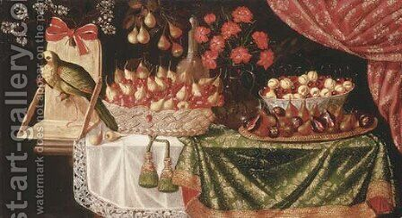 Pears and marasca cherries in a basket by (after) Josefa De Ayala - Reproduction Oil Painting