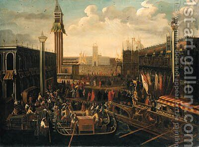 Venice The embarkation of the Doge on the Bucintoro on Ascension Day by (after) Joseph, The Younger Heintz - Reproduction Oil Painting