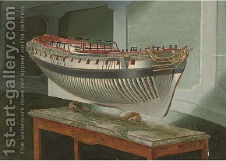 Study of a model of a Royal Naval frigate by (after) Joseph Marshall - Reproduction Oil Painting
