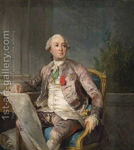 A Portrait Study of Charles-Claude de Flahaut de la Billarderie, Comte d'Angiviller (1730-1809), seated three-quarter-length by (after) Joseph Siffrein Duplessis - Reproduction Oil Painting