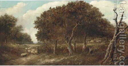 A shepherd with his flock in a wooded landscape by (after) Joseph Thors - Reproduction Oil Painting