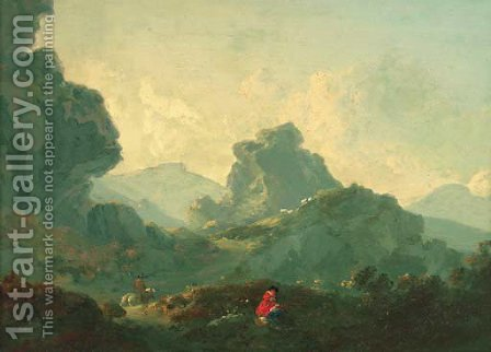 A horseman and a resting figure in a mountainous landscape by (after) Julius Caesar Ibbetson - Reproduction Oil Painting