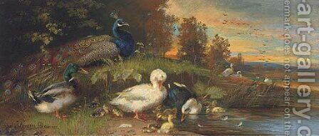 Ducks and a peackock at a lakeside by (after) Julius Scheurer - Reproduction Oil Painting