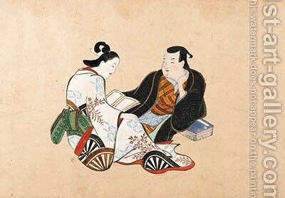 Erotic scenes of courtesans and clients by (after) Kaigetsudo Anchi - Reproduction Oil Painting