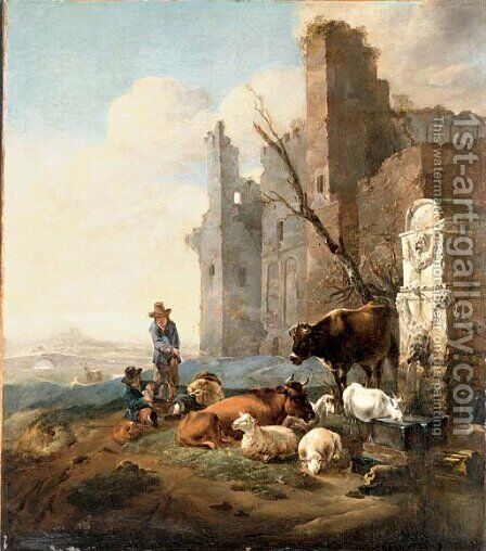 An Italian landscape with herdsmen by (after)Karel Dujardin - Reproduction Oil Painting