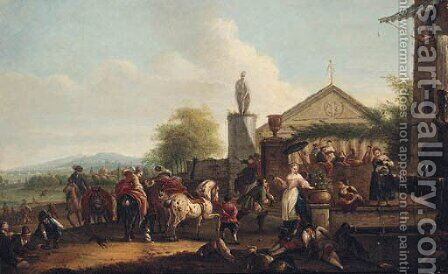 A hunting party halting by a fountain outside a villa by (after) Carel Van Falens Or Valen - Reproduction Oil Painting