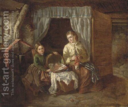 Minding the baby by (after) Catherine Grey - Reproduction Oil Painting