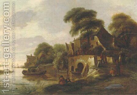 A river landscape with peasants gathered on a bridge in a village, a lake with sailing vessels beyond by (after) Claes Molenaar (see Molenaer) - Reproduction Oil Painting