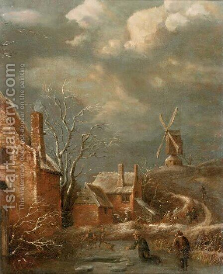 A winter landscape with figures on a frozen lake, cottages nearby and a windmill beyond by (after) Claes Molenaar (see Molenaer) - Reproduction Oil Painting