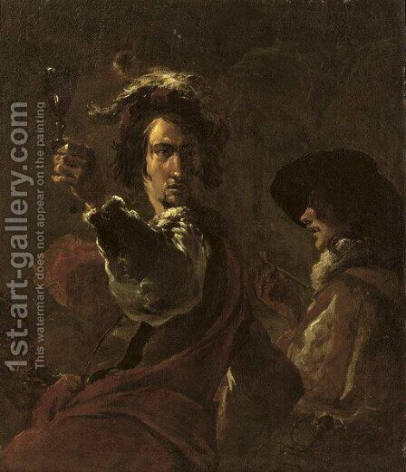 Two soldiers drinking and smoking by (after) Leonaert Bramer - Reproduction Oil Painting