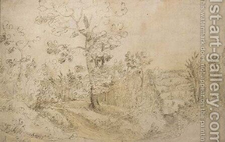 A wooded landscape, perhaps near the village of Vorst outside Brussels, with a horseman seen in the distance by (after) Lodewijk De Vadder - Reproduction Oil Painting