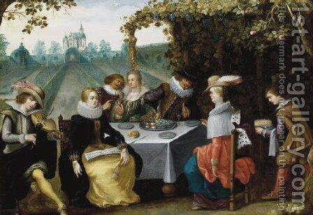 An elegant company dining in a garden by (after) Louis De Caullery - Reproduction Oil Painting
