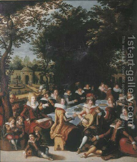 Elegant company dining and making music in an ornamental garden by (after) Louis De Caullery - Reproduction Oil Painting
