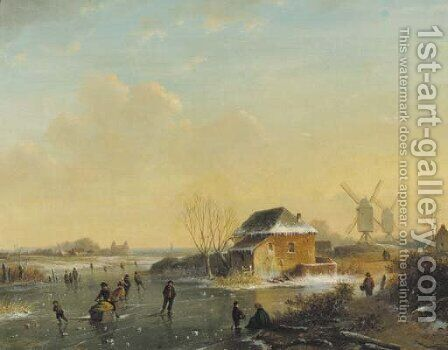 Skaters on a frozen waterway by (after) Louis Smets - Reproduction Oil Painting