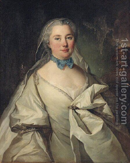 Portrait of a lady thought to be Marie Louise Heudey de Pommainville by (after) Louis Tocque - Reproduction Oil Painting