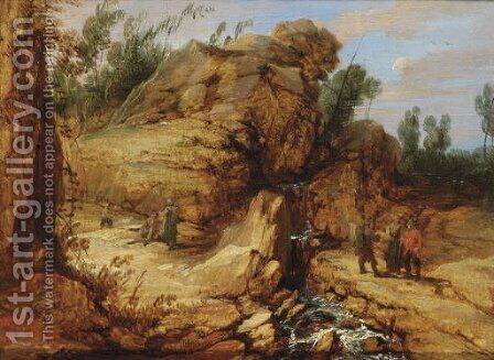 A rocky river landscape with travellers in the foreground by (after) Lucas Achtschellinck - Reproduction Oil Painting