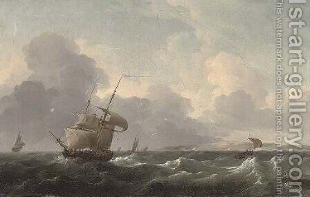 A Dutch merchant brig shortening sail off the coast ahead of the approaching squall by (after) Ludolf Backhuizen - Reproduction Oil Painting