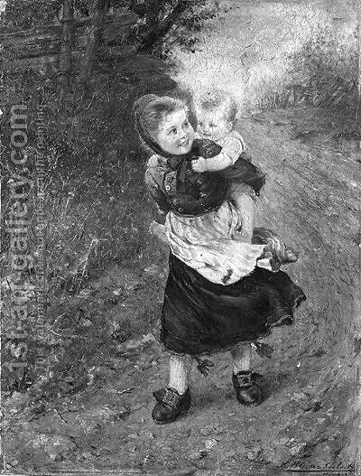 Piggy-back by (after) Ludwig Blume-Siebert - Reproduction Oil Painting