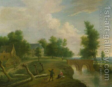 A traveller conversing with a peasant woman on a riverbank by a footbridge, farmhouses beyond by (after) Marc Baets - Reproduction Oil Painting