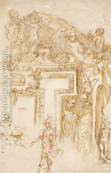 Studies of part of an elaborate overdoor and of three figures by (after) Marco Marchetti, Called Marco Da Faenza - Reproduction Oil Painting