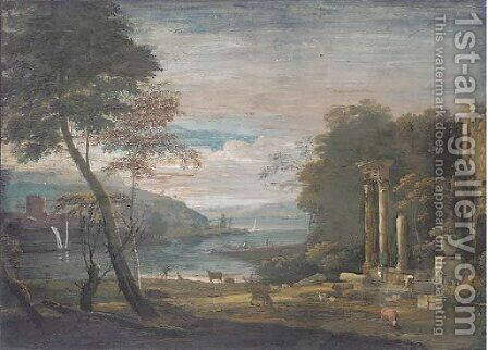 An estuary with ruins in the foreground by (after) Marco Ricci - Reproduction Oil Painting