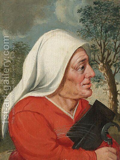 A peasant woman, half-length, with a sickle and spade by (attr. to) Cleve, Marten van - Reproduction Oil Painting