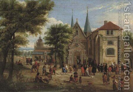 Figures gathered in front of a church in a wooded landscape by (after) Mathys Schoevaerdts - Reproduction Oil Painting