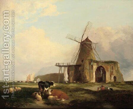 View of St Benet's Abbey, Norfolk, with figures, cattle and sheep in the foreground by (after) Miles Edmund Cotman - Reproduction Oil Painting