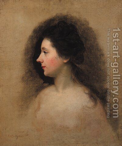 Portrait of a Lady, possibly Catherine Maria 'Kitty' Fisher by (after) Nathaniel Hone - Reproduction Oil Painting