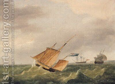 A Three-Masted Schooner In A Swell by (after) Condy, Nicholas Matthews - Reproduction Oil Painting
