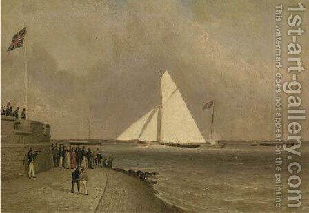 Arrow winning the King's Cup at Cowes in 1826 by (after) Condy, Nicholas Matthews - Reproduction Oil Painting