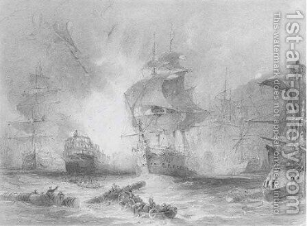 The Battle of the Nile, 1st August 1798 by (after) Nicholas Pocock - Reproduction Oil Painting