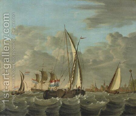 Shipping on choppy waters near the coast with a village beyond by (after) Nicolaas Baur - Reproduction Oil Painting
