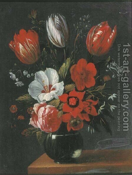 Tulips, roses and other flowers in a glass vase on a wooden ledge by (after) Nicolaes Van Verendael - Reproduction Oil Painting