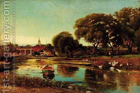 Summer - River near a Village by (after) Konstantin Egorovich Egorovich Makovsky - Reproduction Oil Painting