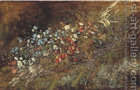 A bouquet of summer fruits and flowers on a mossy bank by (after) Olga Wisinger-Florian - Reproduction Oil Painting