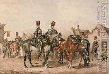A detachment of the 8th Royal Hussars departing a country tavern by (after) Orlando Norie - Reproduction Oil Painting