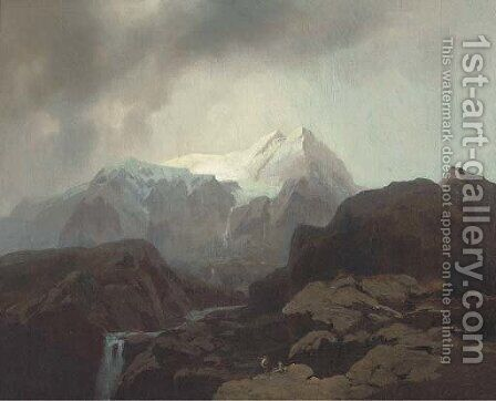 A mountainous landscape, possibly Canada by (after) Otto Reinhard Jacobi - Reproduction Oil Painting