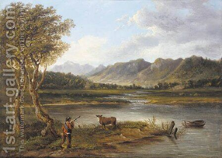 A drover and a cow in a mountainous river landscape by (after) Patrick Nasmyth - Reproduction Oil Painting