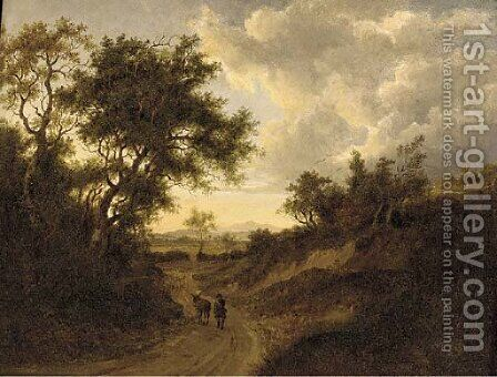 A drover on a wooded track in an extensive landscape by (after) Patrick Nasmyth - Reproduction Oil Painting