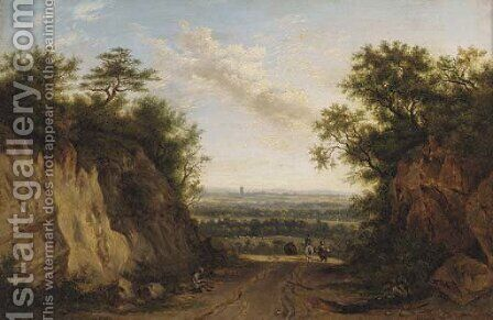 Figures on a path in an extensive landscape by (after) Patrick Nasmyth - Reproduction Oil Painting