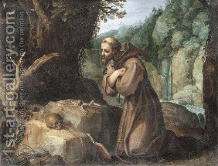 Saint Francis in the wilderness by (after) Paul Bril - Reproduction Oil Painting