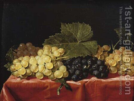 Red and white grapes on a draped table by (after) Paul Liegeois - Reproduction Oil Painting