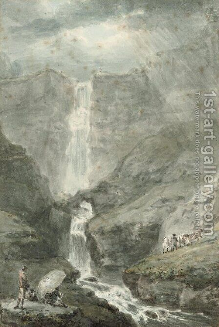 Pistyll Rhaiadr, North Wales by (after) Paul Sandby - Reproduction Oil Painting