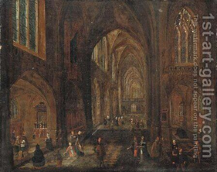 The interior of a cathedral by (after) Pieter The Younger Neefs - Reproduction Oil Painting