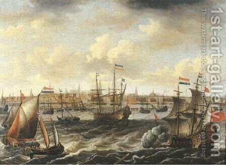A view of Amsterdam with a Dutch frigate firing a salute, other men-o'-war, frigates and wijdschepen on the IJ nearby by (after) Petrus Van Der Velden - Reproduction Oil Painting