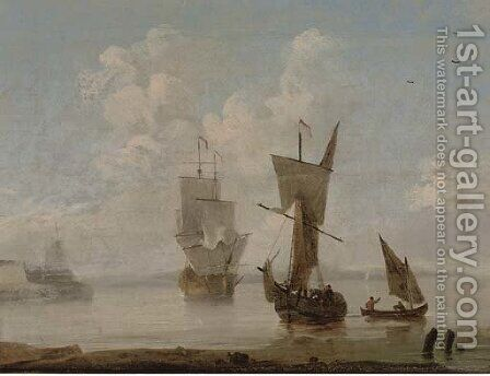 Arriving at the anchorage in a calm by (after) Peter Monamy - Reproduction Oil Painting