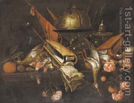 A globe, a book, an hourglass, dead game, roses, fruit and weapons on a table by (after) Petrus Schotanus - Reproduction Oil Painting