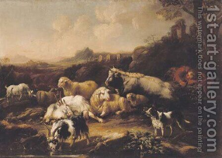 A shepherd resting with sheep, goats, a cow and a dog in an Italianate landscape by (after) Philipp Peter Roos - Reproduction Oil Painting